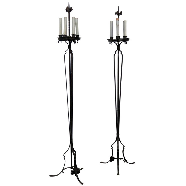 pair of antique wrought iron floor lamps for sale at 1stdibs