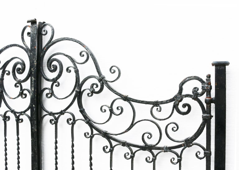 English Pair of Antique Wrought Iron Gates For Sale