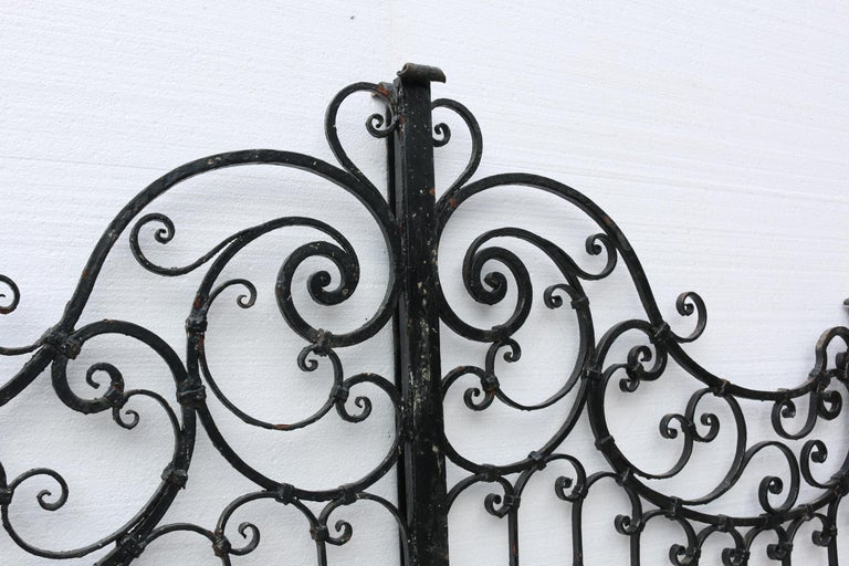 Pair of Antique Wrought Iron Gates In Fair Condition For Sale In Wormelow, Herefordshire