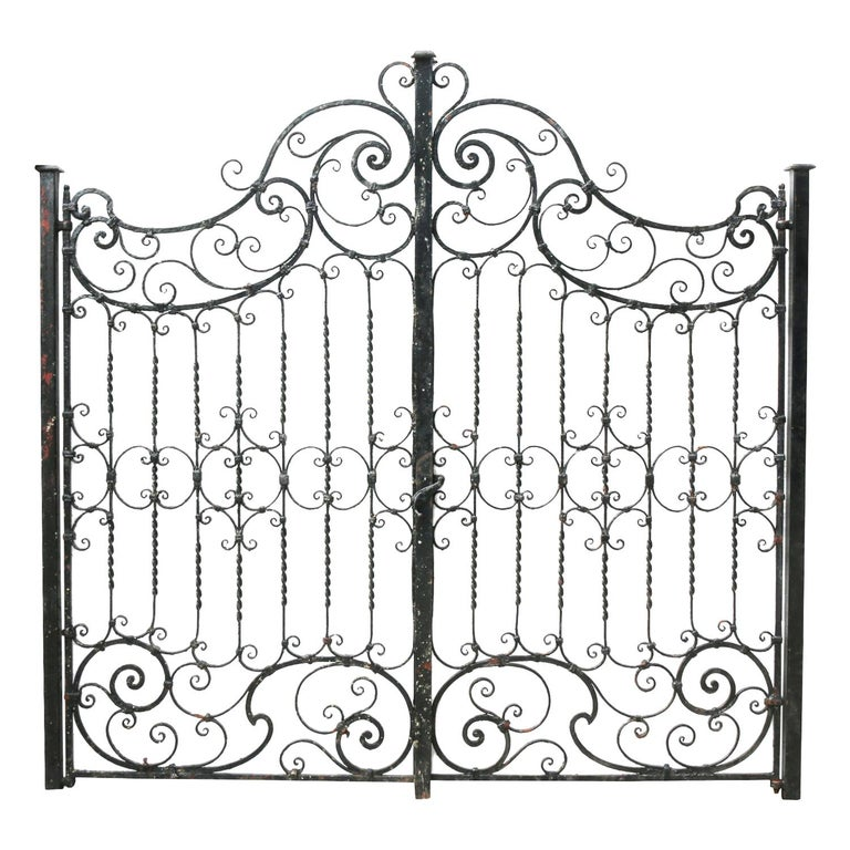 Pair of Antique Wrought Iron Gates For Sale