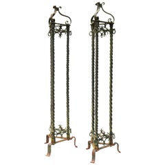 Pair of Antique Wrought Iron Lamp Standards