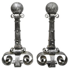 Pair of Antique Wrought Iron Large Cannonball Gothic Fireplace Andirons
