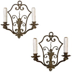 Pair of Antique Wrought Iron Wall Sconces, Electrified