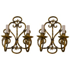 Pair of Antique Wrought Iron Wall Sconces