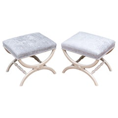 Pair of Antique X-Form Stools Reinterpreted in Lacquer