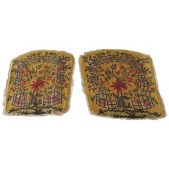 Pair of Antique Yellow and Green Petit Point Tapestry Fragments