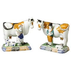 Pair of Antique Yorkshire Pottery Prattware Cows from Mexborough Pottery