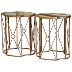 Pair of Antiqued Brass and Smoked Mirrored Glass Side Tables