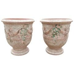 Pair of Antiqued Classic Fleur-de-Lis Anduze Pots from France