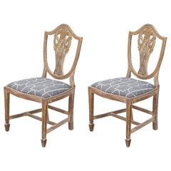 Pair of Antiqued Hepplewhite Shield Back Side Chairs with Swag Details