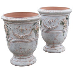 Pair of Antiqued White and Blue-Gray Fleur-de-Lis Anduze Pots from France