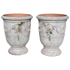 Pair of Antiqued White and Blue-Gray Fleur-de-Lys Anduze Pots from France
