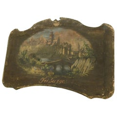 """Pair of Antiques Canvases Painted with """"Friburgo"""" Landscapes, 1800, Italy"""