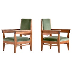 Pair of Anton Lucas Art Deco Armchairs in Oak and Macassar Ebony, 1925