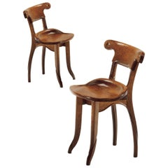 Pair of Antoni Gaudi, Modernist, Solid Varnished Oak, Batllo Spanish Chairs