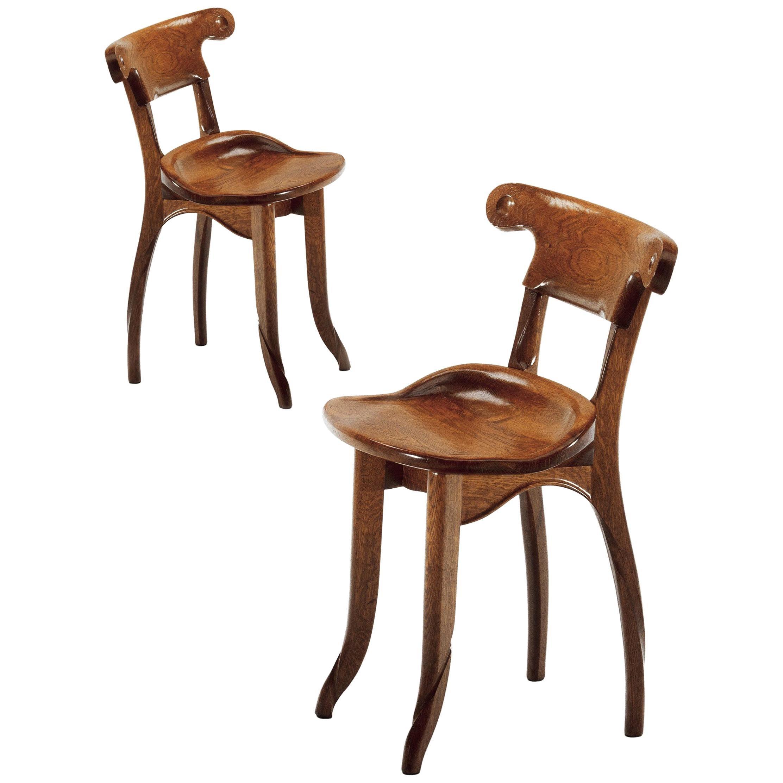 Pair of Antoni Gaudi, Modernist, Solid Varnished Oak, Batllo Spanish Chairs