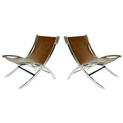 Pair of Antonio Citterio Leather Sling 'Timeless' Chairs for Flexform Italy