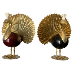 Pair of Antonio Pavia Brass and Coral Peacock Bookends Sculptures