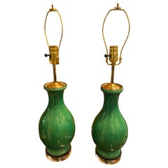 Pair of Apple Green Chinese Porcelain Table Lamps