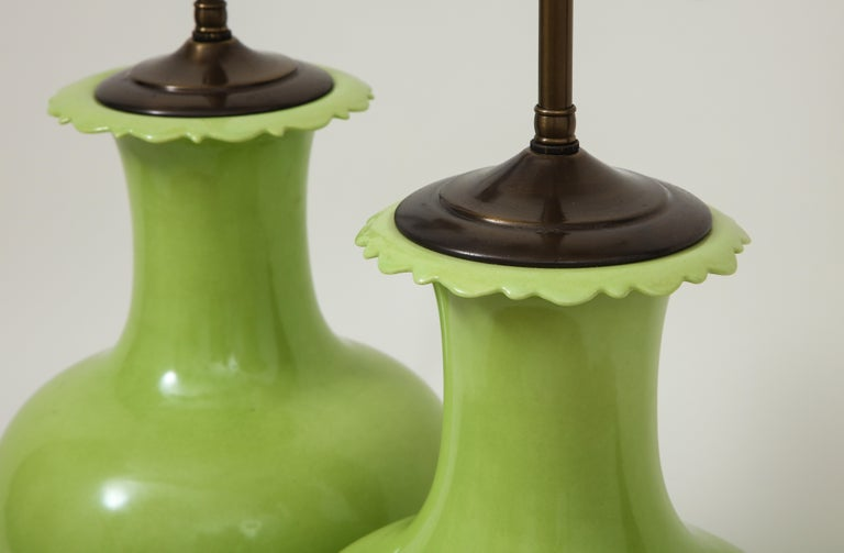 20th Century Pair of Apple Green Porcelain Lamps For Sale
