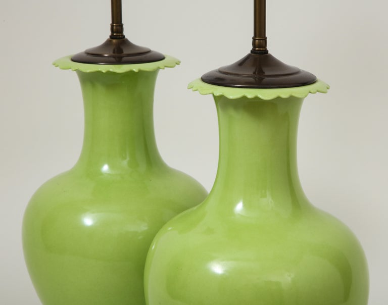 Pair of Apple Green Porcelain Lamps For Sale 3