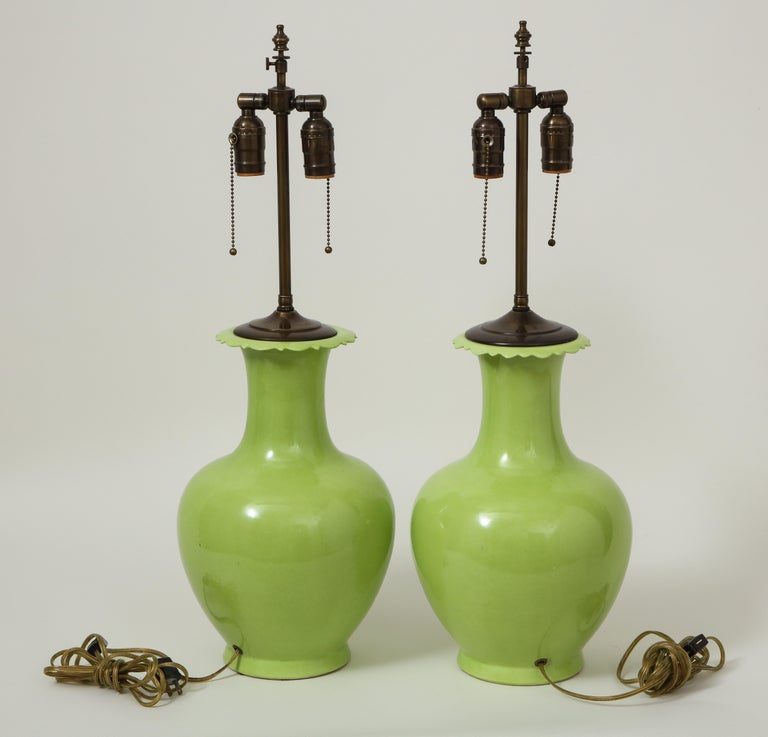 Pair of Apple Green Porcelain Lamps For Sale 4