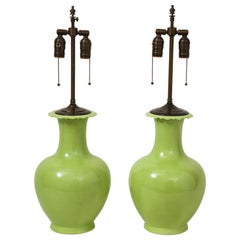 Pair of Apple Green Porcelain Lamps