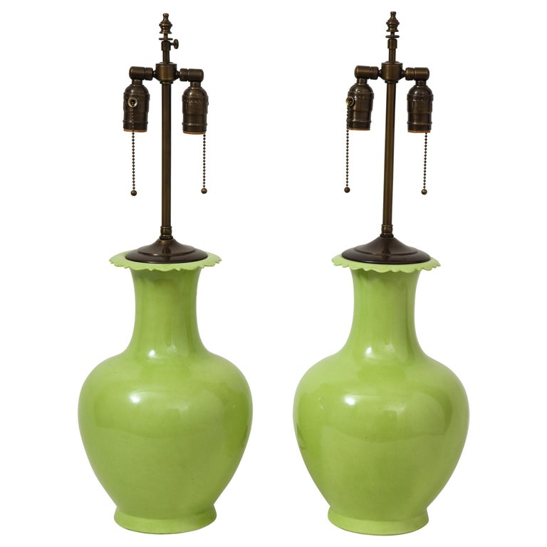Pair of Apple Green Porcelain Lamps For Sale