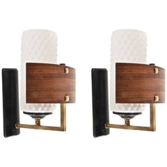 Pair of Appliques by Studio Reggiani, Italy 1950, Sconces in Glass, Brass, Metal