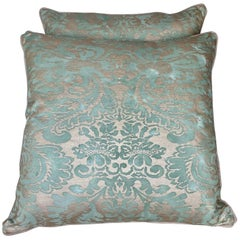 Pair of Aqua Blue and Gold Fortuny Pillows