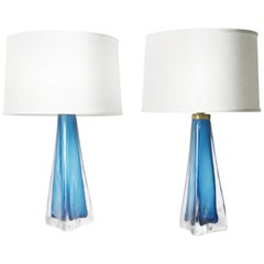 Pair of Aqua Blue Triangular Orrefors Lamps, Sweden, 1960