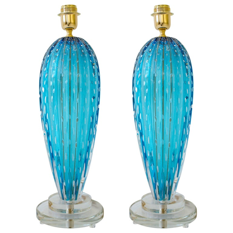 Pair of Aquamarine Blue or Blue Topaz Murano Glass Lamps, Italy, Signed For Sale