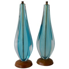 Pair of Aquamarine Murano Table Lamps