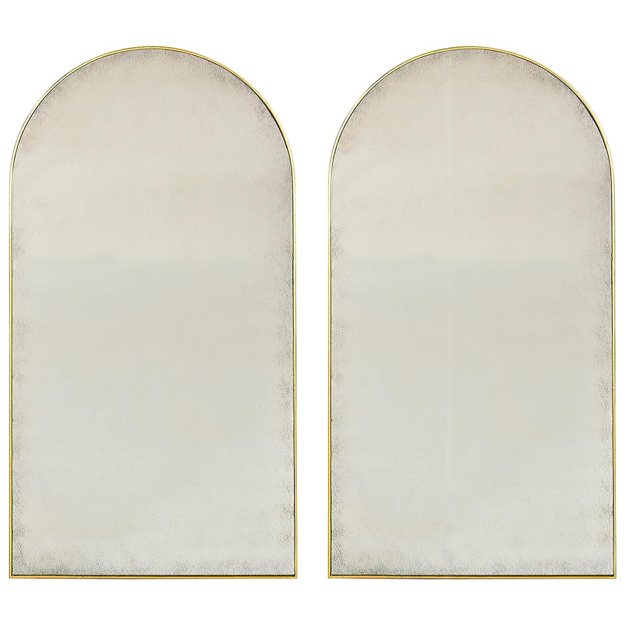 Pair of Arch Top Gilt Mirrors