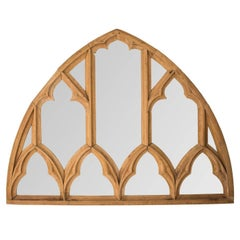 Pair of Arched Gothic Style Window Pane Mirror