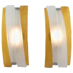 Pair of Arched Murano Sconces in Frosted and Amber Glass, circa 1980s