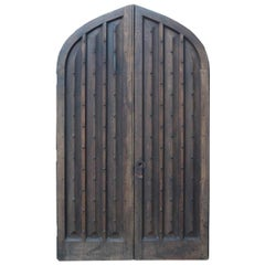 Pair of Arched Oak Studded Church Doors