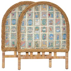 Pair of Arched Wicker/Rattan Twin Size Headboards