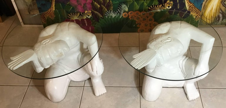 Pair of Architectural Carved Wood Side Table For Sale 13