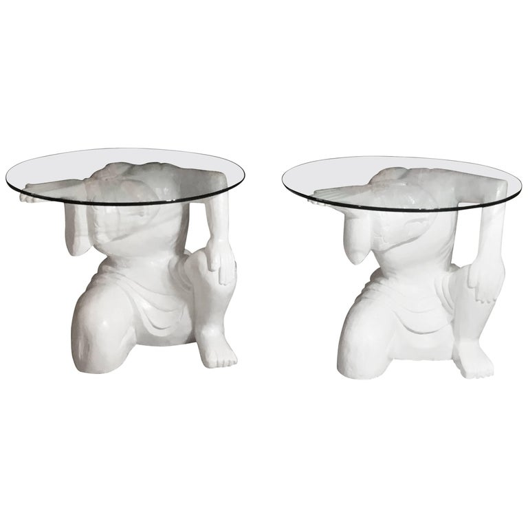 Pair of Architectural Carved Wood Side Table For Sale