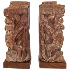 Pair of Architectural Carvings, from a Nepali Window, Early to Mid-20th Century