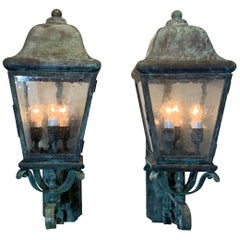 Pair of Architectural Handcrafted Brass Wall Lantern