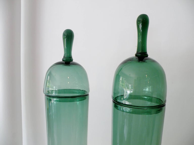 Mid-Century Modern Pair of Architectural Italian Empoli Verde Art Glass Apothecary Jars For Sale