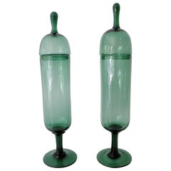Pair of Architectural Italian Empoli Verde Art Glass Apothecary Jars