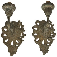 Pair of Architectural Outdoor Metal Rococo Style Wall Sconces