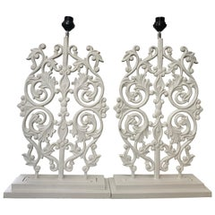 Pair of Architectural Panels Wired for Lamps