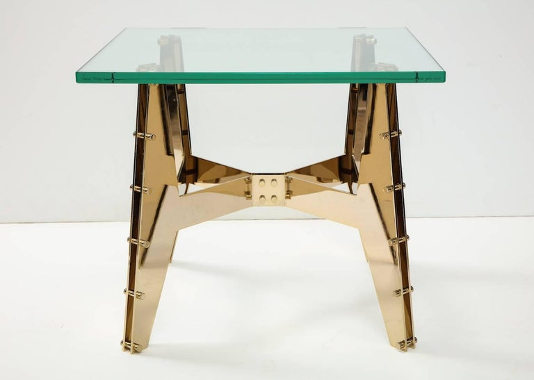 Italian Pair of Architectural Side Tables For Sale