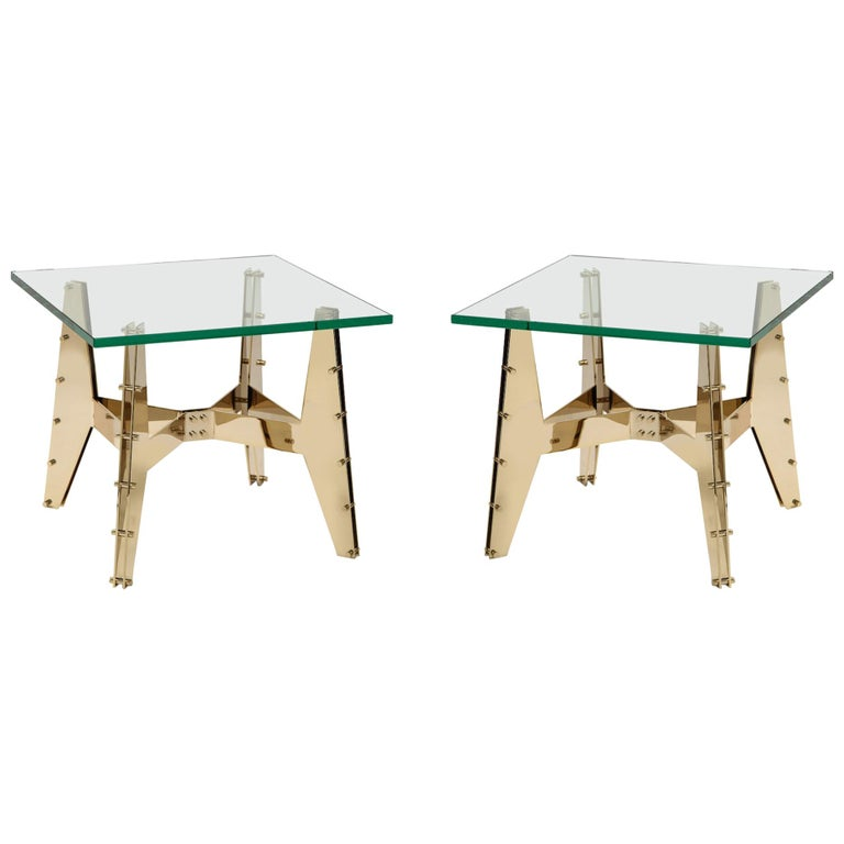 Pair of Architectural Side Tables For Sale