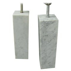 Pair of Mid Century Architectural Square Marble Column Table Lamps Style