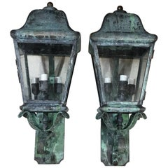 Pair of Architectural Wall Mounted Brass Lantern